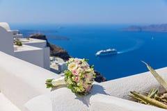 Ślubny bukiet na Santorini Obrazy Royalty Free