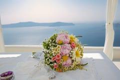 Ślubny bukiet na tle morze Obraz Stock