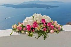 Ślubny bukiet na tle morze Zdjęcia Stock