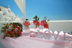 Ślubny bukiet na wyspie Santorini, Grecja Obraz Stock