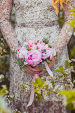 Ślubny bukiet różowe peonie Zdjęcia Royalty Free