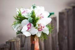 Ślubny bukiet z białymi orchideami Zdjęcie Royalty Free