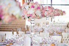 Ślubny wystrój w restauraci Zdjęcia Royalty Free