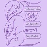 Ślubny zaproszenie lub karta z kwiecistym konturu wzorem Obrazy Stock