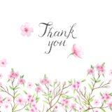 Ślubny zaproszenie szablon z akwarela kwiatem Zdjęcie Royalty Free