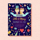 Ślubny zaproszenie z doodles Obraz Royalty Free