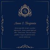 Ślubny zaproszenie z monogramem Zdjęcie Royalty Free