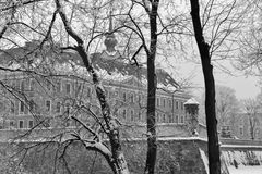 Lubomirski castle in Rzeszow, Poland. Winter Lubomirski castle in Rzeszow, Poland. Black and white Royalty Free Stock Photo