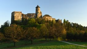 Lubovniansky hrad, Spis region, Slovakia. Evening view of historic medieval Lubovna`s castle in Spis region - Slovakia royalty free stock photography