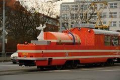 Lubrification du tram avec un ange de Noël photo stock