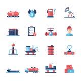 Lubrifichi, icone e pittogrammi piani moderni di progettazione dell'industria del gas Fotografia Stock Libera da Diritti