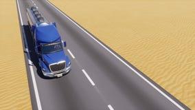 Lubrifichi il camion sulla strada vuota fra il deserto astratto 3D royalty illustrazione gratis
