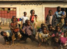 Lubumbashi, Democratic Republic of Congo: Group of children posing for the camera stock photography