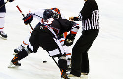 Luca Ansoldi  of Renon Ritten Sport and Edoardo Caletti of HC Milano during a game Royalty Free Stock Image