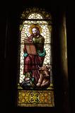 Luca Apostle on stained glass Stock Photo
