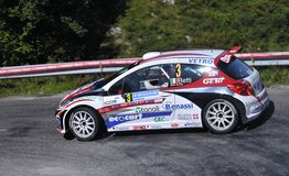 Luca Betti with the Peugeot 207 S2000. Royalty Free Stock Image