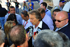 Luca di Montezemolo, Ferrari. Monza, Italy - September 11 : Chairman of Ferrari, Luca di Montezemolo is giving an interview during the Formula One 2010 at Monza Royalty Free Stock Photos
