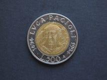 Luca Pacioli Italian Lira (ITL) mynt Arkivfoto