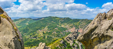 Lucan Dolomites with beautiful mountain village of Castelmezzano, Italy Royalty Free Stock Images