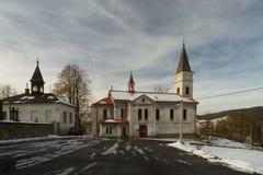 Lucany nad Nisou - Tschechische Republik-Kirche stockfotos