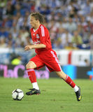 Lucas Leiva of Liverpool FC. Lucas Leiva, Brazilian player of Liverpool FC, in action during a friendly match against RCD Espanyol at the Estadi Cornella-El Prat Stock Photos