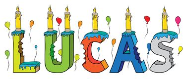 Lucas male first name bitten colorful 3d lettering birthday cake with candles and balloons.  Stock Photography