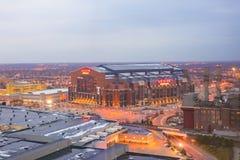 Lucas Oil Stadium es un hogar a los Indianapolis Colts imagen de archivo
