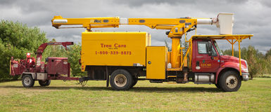 Lucas Tree Experts Utility Truck foto de stock