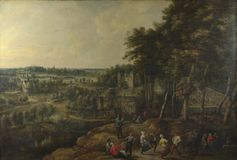 Lucas van Uden and David Teniers the Younger - Peasants merry-making before a Country House stock image