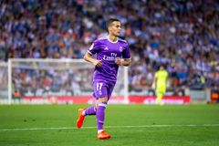 Lucas Vazquez plays at the La Liga match between RCD Espanyol and Real Madrid CF. BARCELONA - SEP 18: Lucas Vazquez plays at the La Liga match between RCD royalty free stock photos