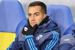 Lucas Vazquez of Real Madrid. LVIV, UKRAINE - NOVEMBER 25, 2015: Lucas Vazquez of Real Madrid seats on the bench during UEFA Champions League game against FC Royalty Free Stock Photography