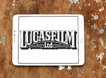 Lucasfilm logo. Logo of the american film and television production company Lucasfilm on samsung tablet on wooden background Stock Photo