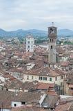 Lucca全视图在托斯卡纳,意大利 免版税图库摄影