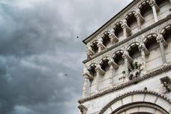 Lucca cathedral facade detail Stock Photos