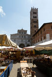 Lucca Cathedral and market Royalty Free Stock Image