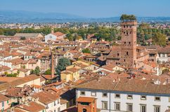 Panoramic view in Lucca, with the famous Guinigi Tower. Tuscany, Italy. stock photo