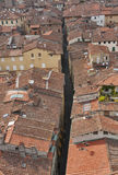 Lucca cityscape from the Guinigi tower, Italy Royalty Free Stock Image