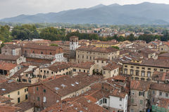 Lucca cityscape from the Guinigi tower, Italy Stock Photos