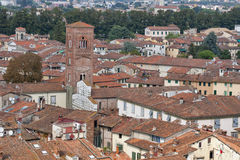 Lucca cityscape from the Guinigi tower, Italy Stock Image