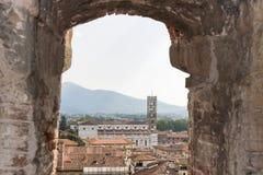 Lucca cityscape from Guinigi Tower, Tuscany, Italy Stock Photos