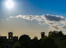 Lucca cityview silhouette Royalty Free Stock Photos