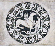 Lucca - detail from St Martin's Cathedral facade. Royalty Free Stock Photo