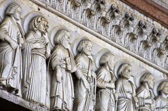 Lucca - detail from St Martin's Cathedral facade. Stock Photo