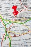 Lucca fijó en un mapa de Italia Imágenes de archivo libres de regalías