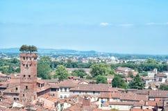 Lucca flyg- panoramautsikt Royaltyfri Fotografi