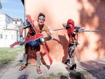 LUCCA, ITALIEN - 11. November: maskiert Zeichentrickfilm-Figuren in Lucca Stockbild