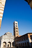Lucca, Italy. Facade of the cathedral of lucca. Tuscany italy Royalty Free Stock Images
