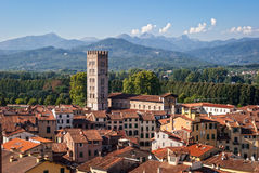 Lucca, Italy. Panorama with city and mountains Stock Images