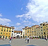 Lucca Italy The square of the Amphitheater. Is a square in the city of Lucca, built on the remains of the ancient Roman amphitheater II century AD, which royalty free stock photography