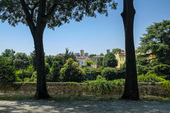 Lucca Italy. A view of the ancient Tuscan city of Lucca, Italy from on top of the defensive walls that surround the town Royalty Free Stock Image